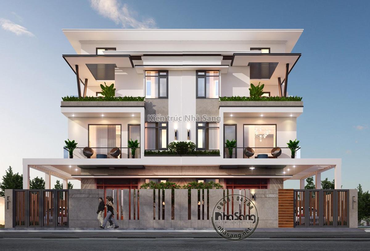 Mẫu biệt thự song lập 4 tầng phong cách hiện đại mặt tiền 7.5m x 12m cuốn  hút BT20012