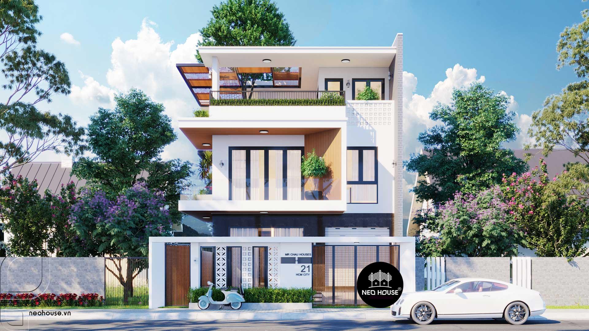 Mẫu Nhà Biệt Thự Đẹp 3 Tầng 8x18m Độc Đáo Tại Bình Tân HCM